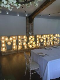 Light up Rustic LOVE / MR & MRS Letters / Cart / Postbox for Hire