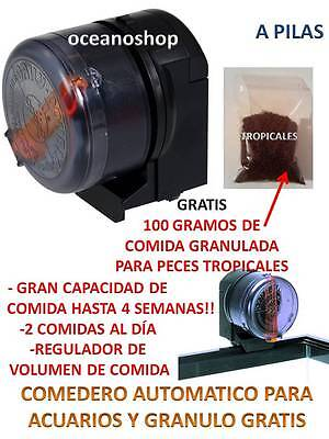 GRATIS 100g COMIDA tropical PECES COMEDERO PECERA AUTOMATICO alimentador Acuario