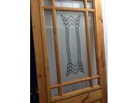Unused wooden patterned glass door