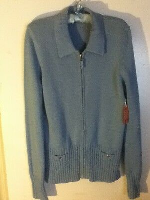 Nwt Cotton Nordstrom Zip Button Pocket Blue Knit Collar Sweater Jacket Coat Xl
