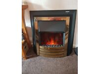 Etchells 2000w led electric fire in gold/brass 2 heat settings