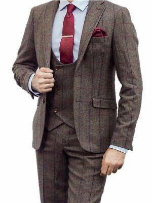 HERREN Braune Karo Tweed Anzug Lagerverkauf - 3 Stück Anzug für - Schnäppchen