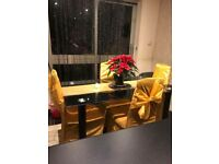 Black glass dining table with 6 seats chairs new