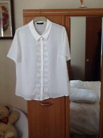 White short sleeve polyester blouse new