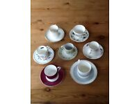 Collection of Seven Fine Bone China Coffee Cups & Saucers