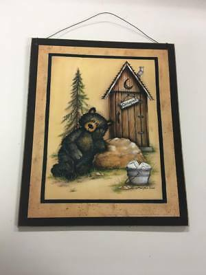 Black Bear occupied outhouse wood sign country bathroom decor decorations cabin  - Country Decorations