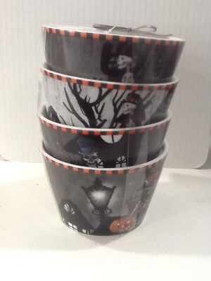222Fifth Dapper Skeleton Halloween 4 New Appetizer Dessert Bowls