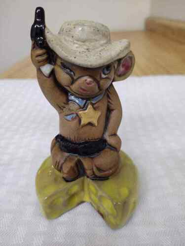 Vintage ceramic mouse sheriff on cheese wedge figurine.