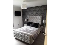Crushed Velvet double bed and mattress