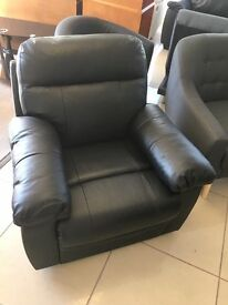 Brand New Designer 100% Black Leather Recliner Chair