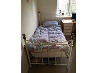 Cream metal single bed frame (+ mattress if needed)
