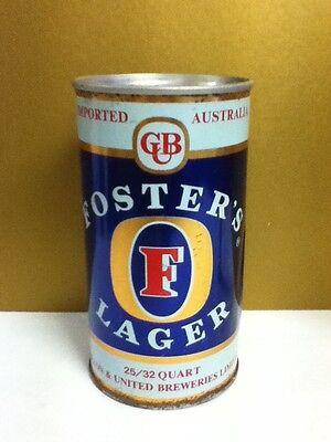"Foster's lager metal pull tab older beer can Austrailia 25/32 quart 6.25"" AG4"