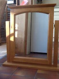 Light oak mirror on stand
