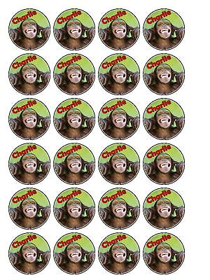 Personalised Cheeky Chimp Monkey Cupcake Toppers x 30