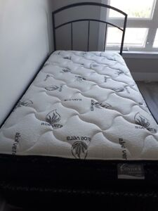 Twin metal bed frame and box spring