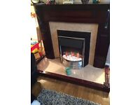 Large dark brown fireplace - fire not included