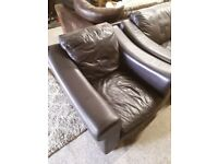 Brown leather arm chair LOW COST MOVES 2nd Hand Furniture STALYBRIDGE SK15 3DN