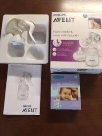 Philips Avent Comfort Manual Breast Pump and Lansinoh Breastmilk Storage Bags- 25 Pack