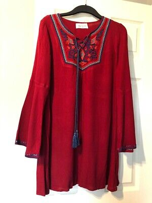 Kiss The Sky Red Embroided Smock Style Dress Size Small UK 8-10
