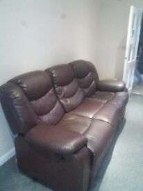 3 Seater Full Leather Sofa For Sale