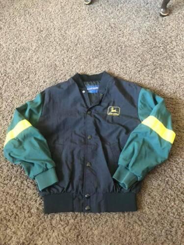 Vintage Youth size M  JOHN DEERE windbreaker jacket Black/green/yellow