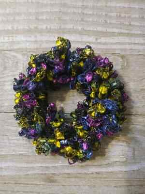Purple & blue ribbon hair scrunchie pony tail holder crochet knit handmade new  for sale  Shipping to India