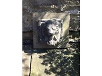 Lion pond wall mounted concrete fountain