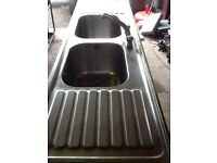 Sissons stainless steel sink double bowl & drainer
