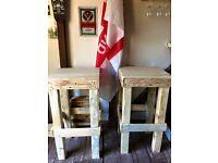 Reclaimed Wood Handmade Bar Stools