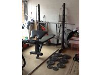 Marcy half smith machine, weight bench and weights