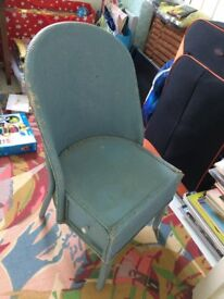 Lovely Shabby Chic Lloyd Loom Chair with side drawer - needs cushion / upcycling project?