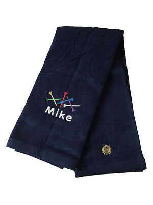 Personalized Golf Towel / Golf Tee / Tri Fold / Velour Terry Towel -