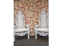 2x BRAND NEW Lion King Throne Chairs (180cm) - White Wedding Luxury French Italian Furniture Asian