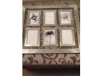 BRAND NEW UNUSED SILVER MIRROR BEVELLED EDGE MULTI PICTURE FRAME