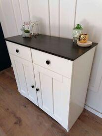 White black top 2 door and 2 drawer sideboard cupboard storage unit cabinet