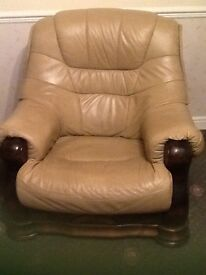 LEATHER 3 seater settee and 1 chair .... Dark beige colour..