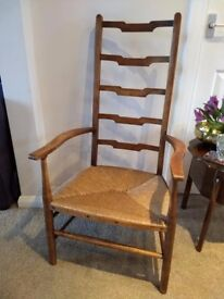 Antique Vintage Country Ladder Back Armchair with Rush Seat.