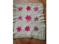 Lemon hand crochet blanket with pink flowers, easily washed.Suitable for car seat or Moses basket.