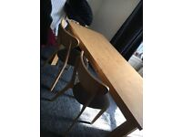 hygena retro style dining chairs pine effect and faux leatherseats