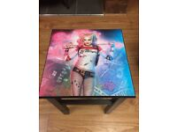 custom made Harley Quinn bedside table. batman. suicide squad. upcylcled. Christmas gift. OOAK.