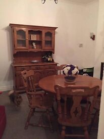 Old skool solid wood table and chairs