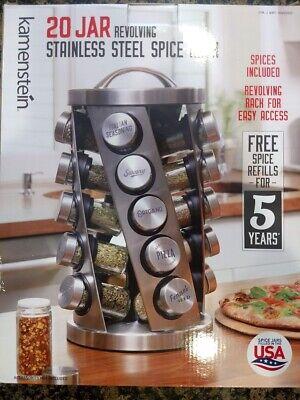 Kamenstein 20 Jar Revolving Spice Rack Stainless Steel New.