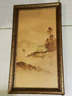 Vintage Chinese China Japan Original Guilt Artwork Signed 16.5x9