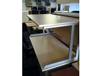Brand new straight beech desks available in different sizes