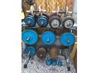 249kg Cast Iron Weights Set, Ez & Hammer Bar, Barbell, Dumbbells, Dumbell Rack & Plate Tree
