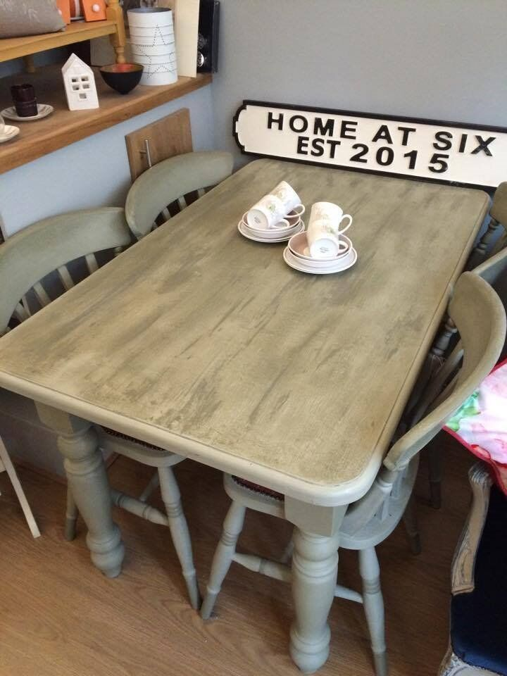Painted Dining Table And Set Of 4 Chairs