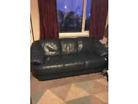 THREE SEATER BLUE LEATHER SOFA. OFFERS. MUST GO