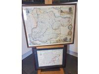 2 framed maps of old essex