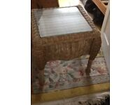 Wicker conservatory table, glass top