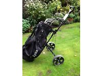 Golf clubs, bag and trolley. Taylormade brand set of clubs. Great starter set. Good condition